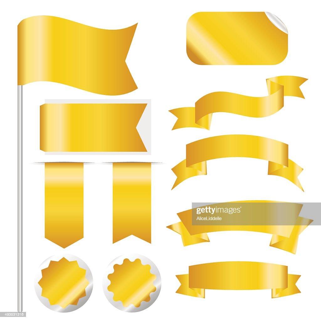 Gold Ribbons Set isolated On White Background