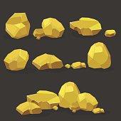 Gold rock,nugget set. Stones single or piled for damage