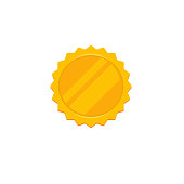 Gold rosette vector icon, flat cartoon golden blank award label or badge, idea of quality or best emblem medal isolated on white clipart