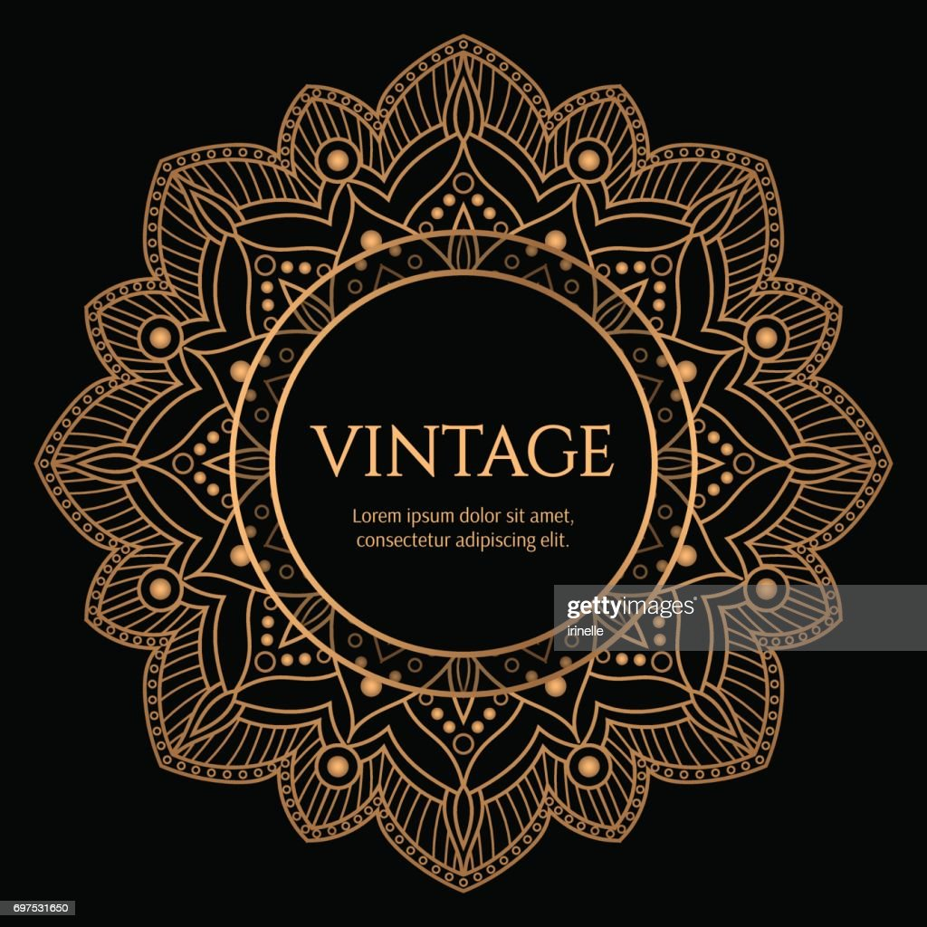 Gold round frame with black background vector