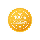 Gold Satisfaction Guarantee Emblem Seal. Medal Label Icon Seal Sign Isolated on White Background. Vector illustration.