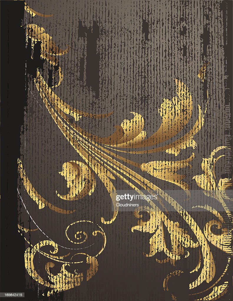 Gold Scrollwork Dark Background Engraving