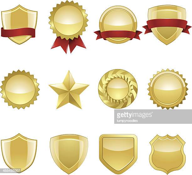gold seals and badges - award plaque stock illustrations, clip art, cartoons, & icons