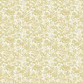 Gold seamless floral vector background