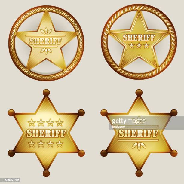 gold sheriff badges set - great seal stock illustrations, clip art, cartoons, & icons