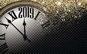 Gold shiny 2019 New Year background with clock.