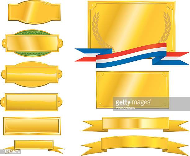 gold signs, plaques and ribbons - nameplate stock illustrations