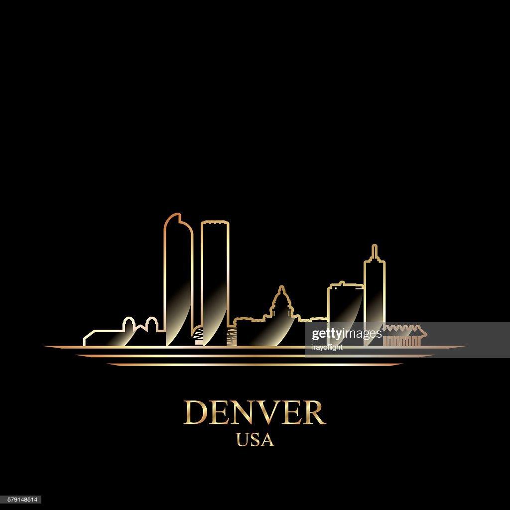 Gold silhouette of Denver on black background