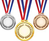 Gold, silver and bronze award medals