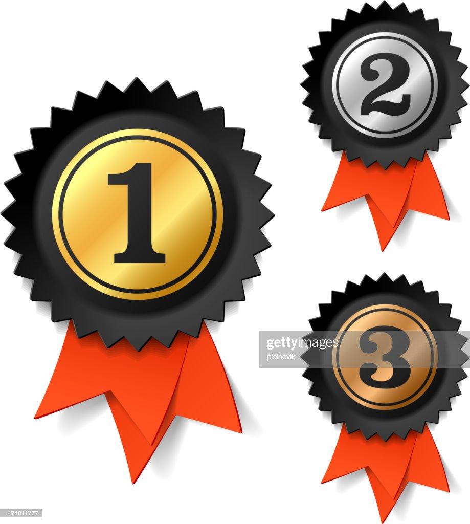 Gold, silver and bronze award ribbons
