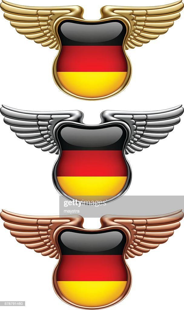 Gold, silver and bronze award signs with wings and Germany flag