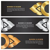 gold, silver and bronze banner template design lai thai set
