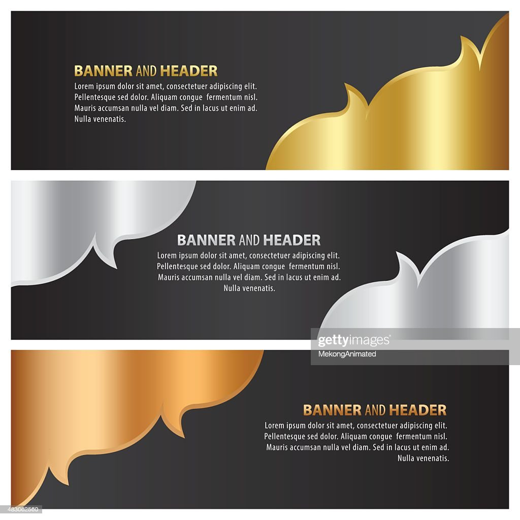 gold, silver and bronze banner template design lai thai style