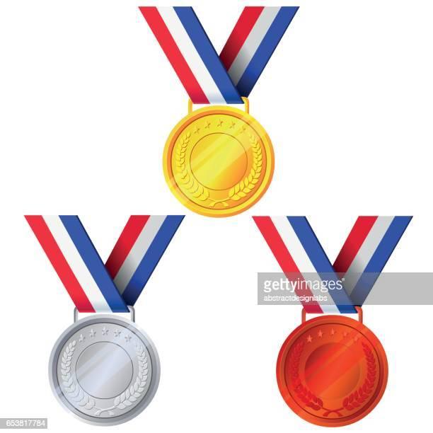 gold, silver and bronze medals - illustration - medallist stock illustrations