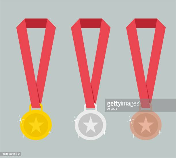 gold, silver and bronze medals - gold medal stock illustrations