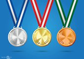 Gold, silver and bronze medals. vector