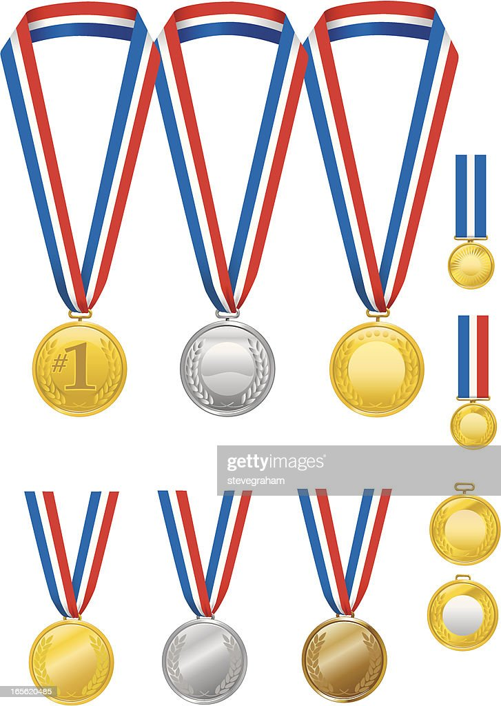 Gold, Silver and Bronze Medals with Ribbons : stock illustration