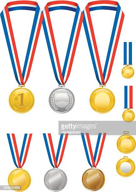 gold, silver and bronze medals with ribbons - gold medal stock illustrations