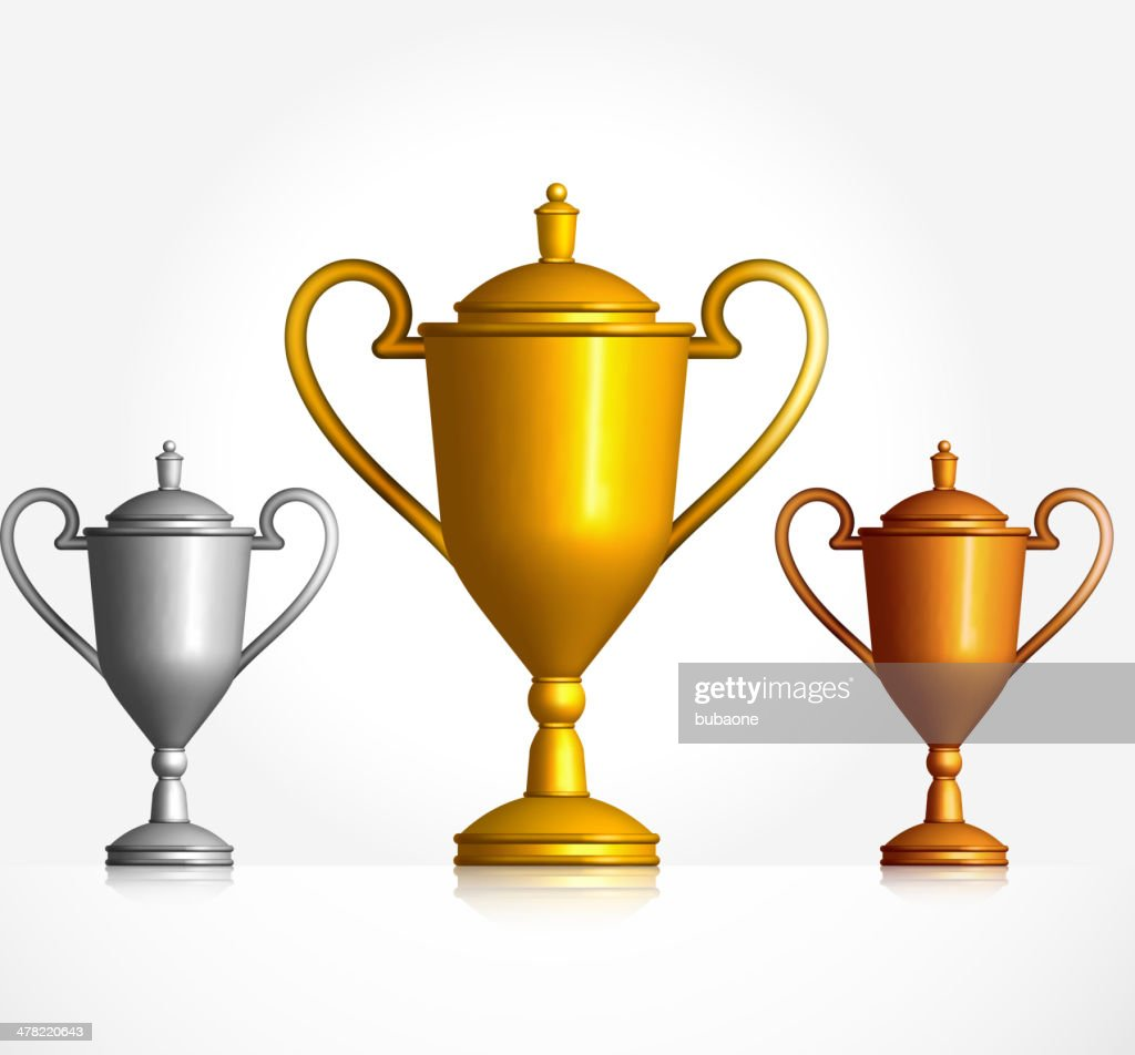 Gold Silver and Bronze Trophies Set : stock vector