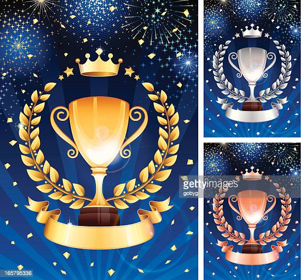 gold, silver and bronze trophy celebration - third place stock illustrations