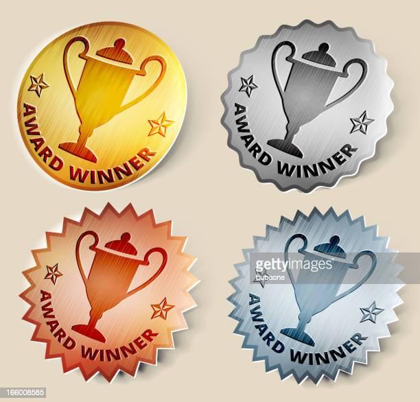 ilustrações, clipart, desenhos animados e ícones de ouro, prata, bronze medalhas e troféus - trophy