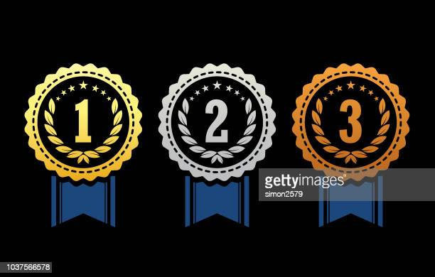 gold, silver and bronze winner award medals - number 2 stock illustrations