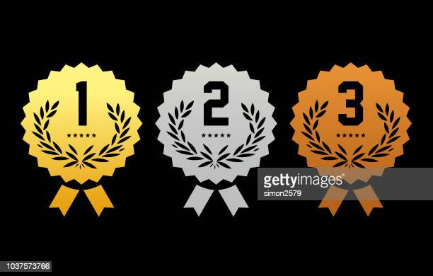 金・銀・銅受賞賞メダル - 記章点のイラスト素材/クリップアート素材/マンガ素材/アイコン素材