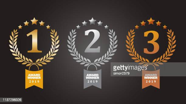 gold, silver and bronze winner award medals - gold medal stock illustrations