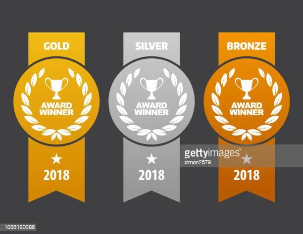 gold, silber und bronze-medaillen gewonnen - 2018 stock-grafiken, -clipart, -cartoons und -symbole
