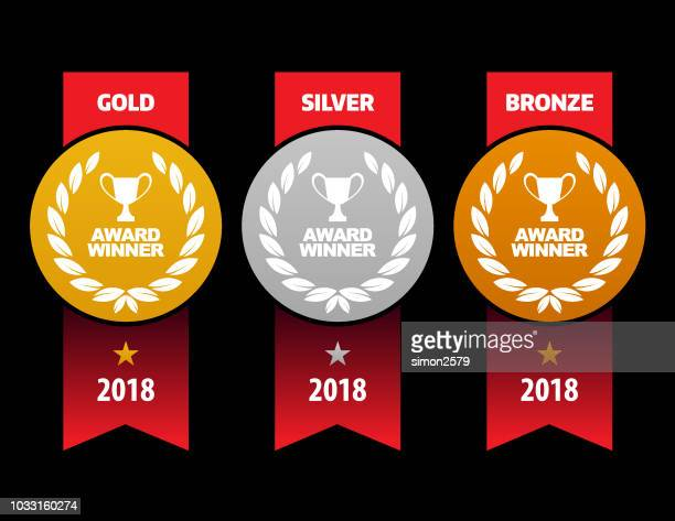 gold, silver and bronze winner medals - second place stock illustrations