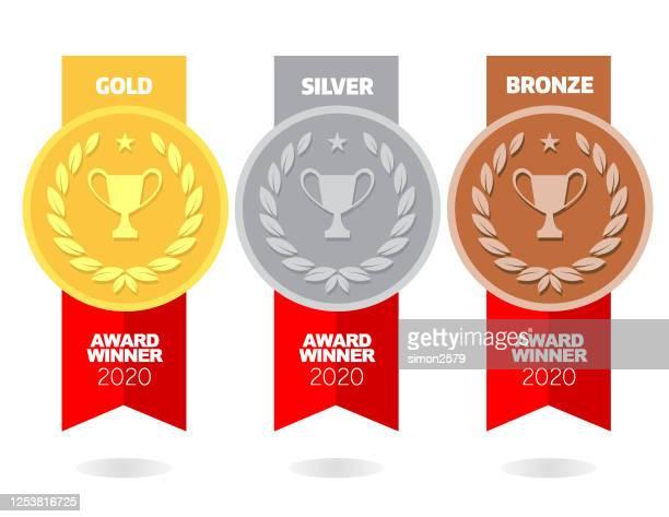 bildbanksillustrationer, clip art samt tecknat material och ikoner med guld-, silver- och bronsmedaljer - tredje plats