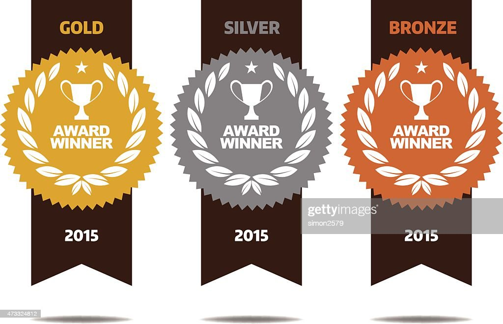 Gold, silver and bronze winner medals : Stock Illustration