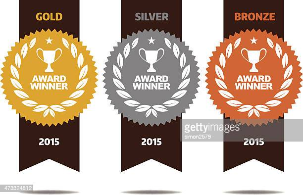 gold, silver and bronze winner medals - silver metal stock illustrations