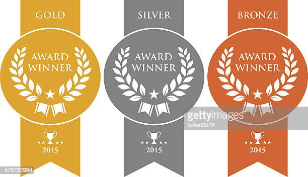 gold, silver and bronze winner medals - bronze alloy stock illustrations