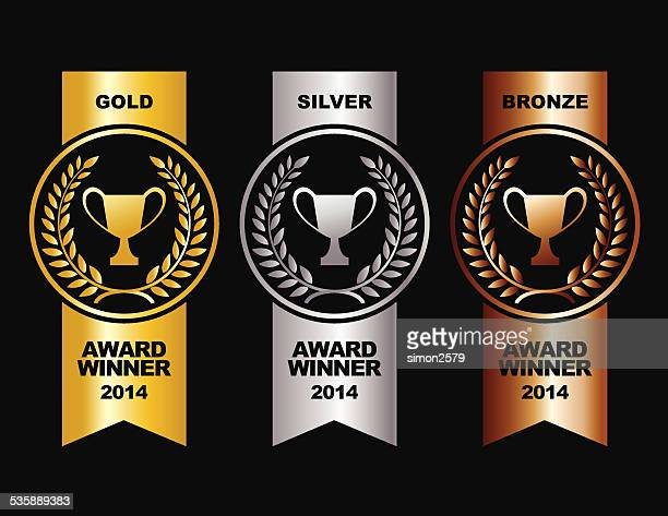 gold, silver and bronze winner medals - bronze medalist stock illustrations