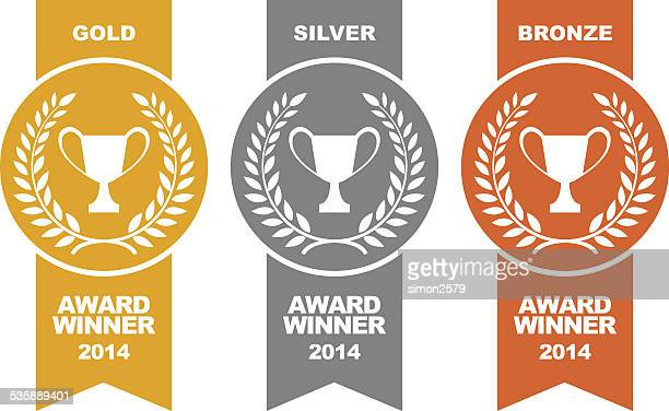 stockillustraties, clipart, cartoons en iconen met gold, silver and bronze winner medals - award
