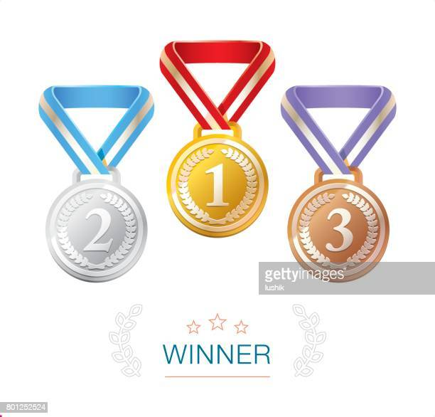 gold, silver and bronze winner medals - medal stock illustrations