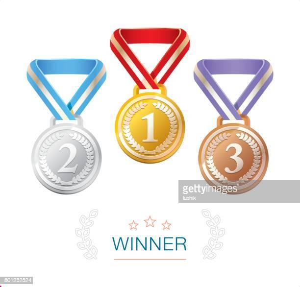 Gold, Silber und Bronze-Gewinner-Medaillen