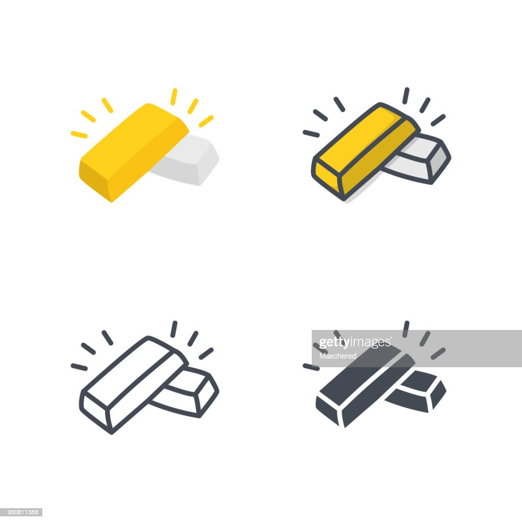 Gold silver bar business icon vector flat colored silhouette line