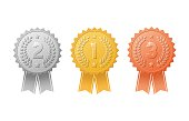 Gold, silver, bronze first, second, third place award badges with color ribbons set. Metal medal trophy seals for winners.