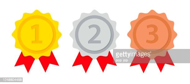 gold silver bronze medal set - vector flat illustration - first second third place stock illustrations