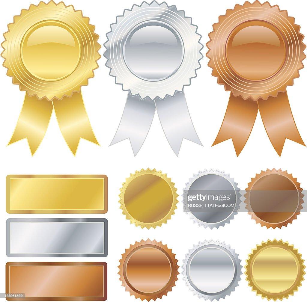 Gold, Silver, Bronze Medallions : stock illustration
