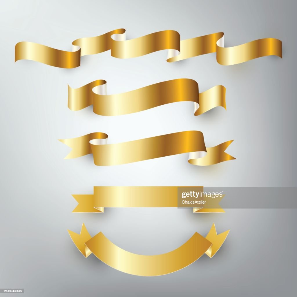 Gold silver ribbon vector, design banner, badge icon, vector illustration