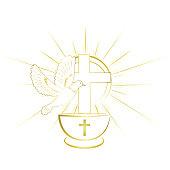 Gold, simple and classy baptism symbols. Invitation.