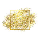 Gold sparkles on white background. Golden glitter