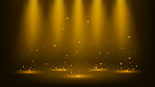 Gold spotlights shining with sparkles 16:9 Aspect Ratio