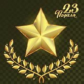 Gold star and laurel wreath branch on transparent background