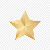Gold star on a white background. Vector illustration.