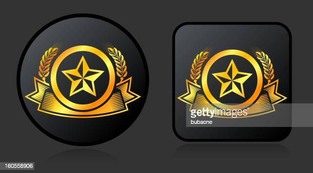 gold star vector icon badge buttons on black background - great seal stock illustrations, clip art, cartoons, & icons