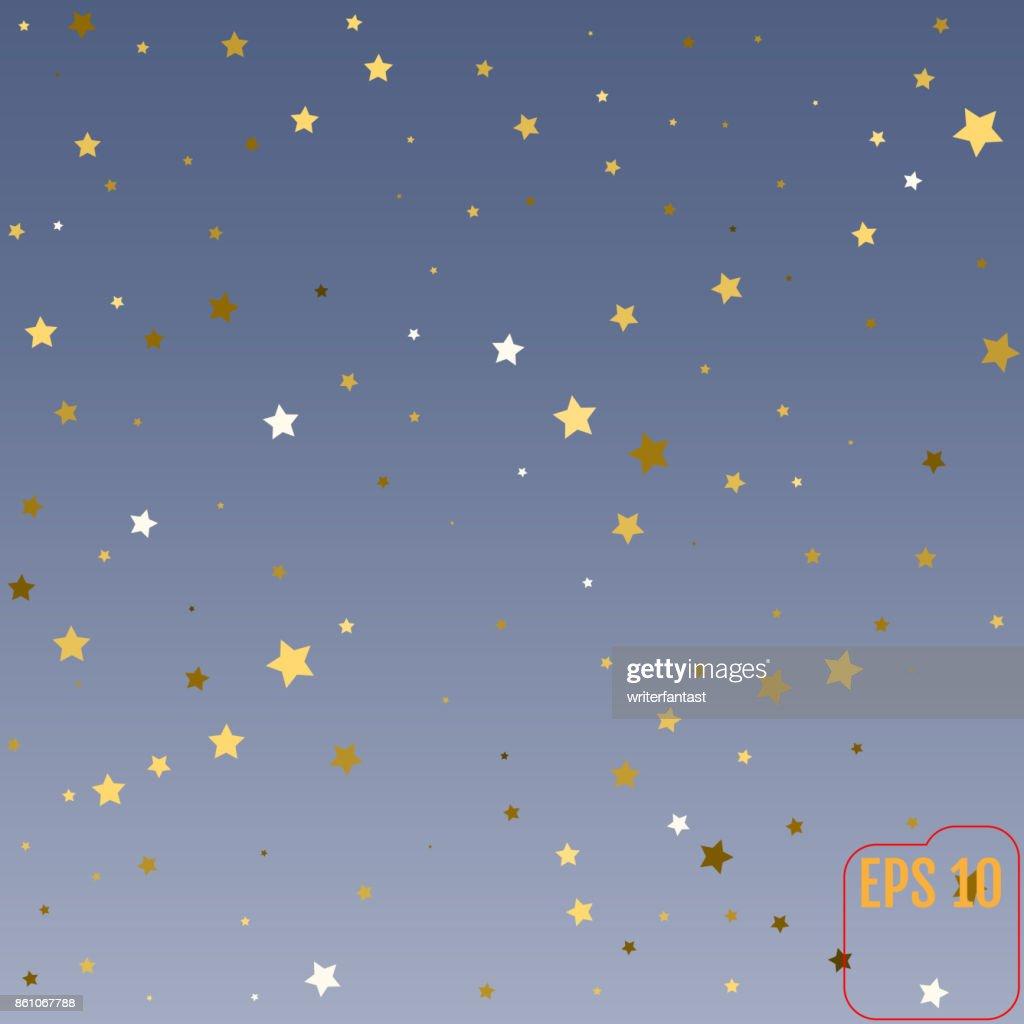 Gouden Sterren Confettiviering Vallende Gouden Abstracte Decoratie